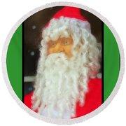 Santa Christmas Card Round Beach Towel
