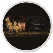 Santa Christmas Cheer Photo Art Round Beach Towel