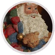 Santa Claus - Antique Ornament - 03 Round Beach Towel