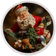 Santa Claus - Antique Ornament - 04 Round Beach Towel