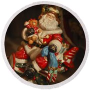 Santa Claus - Antique Ornament -05 Round Beach Towel
