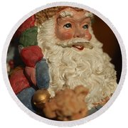 Santa Claus - Antique Ornament - 09 Round Beach Towel by Jill Reger