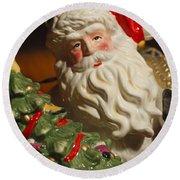 Santa Claus - Antique Ornament - 10 Round Beach Towel by Jill Reger