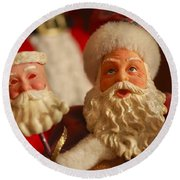 Santa Claus - Antique Ornament - 12 Round Beach Towel by Jill Reger