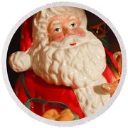 Santa Claus - Antique Ornament - 13 Round Beach Towel