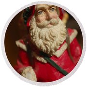 Santa Claus - Antique Ornament - 21 Round Beach Towel