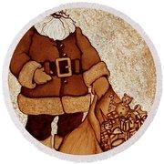 Santa Claus Bag Round Beach Towel by Georgeta  Blanaru