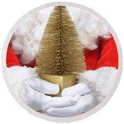Santa Claus Holding Christmas Tree Round Beach Towel