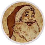 Santa Claus Joyful Face Round Beach Towel by Georgeta  Blanaru