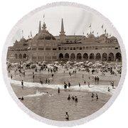 Santa Cruz Beach From Pleasure Pier  California Circa 1908 Round Beach Towel