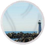 Santa Cruz California Lighthouse Round Beach Towel