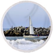 Santa Cruz Harbor Round Beach Towel