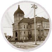 Santa Cruz High School On Walnut Street. Circa 1910 Photo By Besaw Round Beach Towel