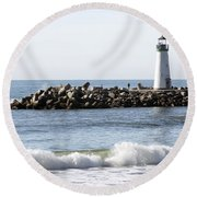 Santa Cruz Lighthouse Wave Wide Round Beach Towel by Barbara Snyder