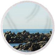 Santa Cruz Lighthouse Wide Round Beach Towel