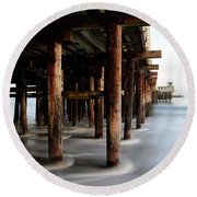Santa Cruz Pier California Round Beach Towel