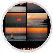 Santa Cruz Sunset  Round Beach Towel by AJ  Schibig