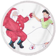 Santa Dances Round Beach Towel