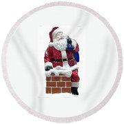 Santa Down The Chimney Round Beach Towel
