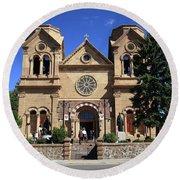 Santa Fe - Basilica Of St. Francis Of Assisi Round Beach Towel