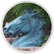 Santa Fe Big Blue Horse Round Beach Towel