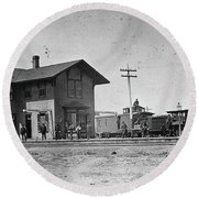 Santa Fe Railway, 1883 Round Beach Towel