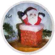 Santa Ho Ho Ho Photo Art Round Beach Towel