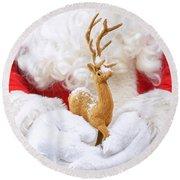 Santa Holding Reindeer Figure Round Beach Towel
