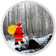 Santa In Christmas Woodlands Round Beach Towel