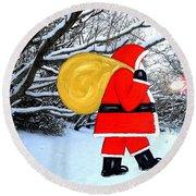 Santa In Winter Wonderland Round Beach Towel