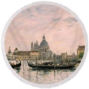 Santa Maria Della Salute And The Dogana Round Beach Towel