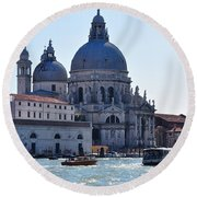 Santa Maria Della Salute Surrounded By Sparkling Waters Round Beach Towel