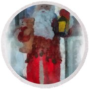 Santa Merry Christmas Photo Art 02 Round Beach Towel