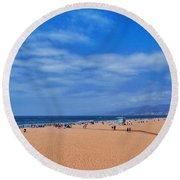 Santa Monica Beach California Round Beach Towel
