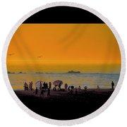 Santa Monica Beach Sunset Round Beach Towel