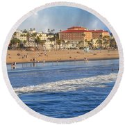 Santa Monica Beach View  Round Beach Towel