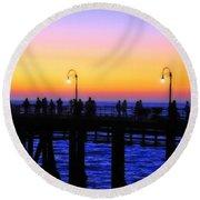 Santa Monica Pier Sunset Silhouettes Round Beach Towel