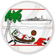 Santa On Vacation Round Beach Towel
