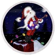 Santa Plays Guitar In A Snowstorm 2 Round Beach Towel