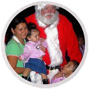 Santa Poses With Fans At Annual Christmas Parade Eloy Arizona 2004 Round Beach Towel