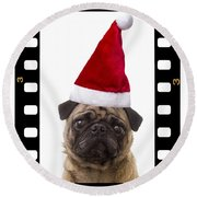 Santa Pug - Canine Christmas Round Beach Towel by Edward Fielding