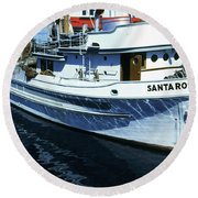 Santa Rosa Purse-seiner Fishing Boat Monterey Bay Circa 1950 Round Beach Towel