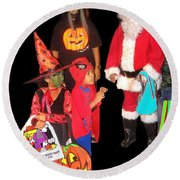 Santa Trick Or Treaters Halloween Party Casa Grande Arizona 2005 Round Beach Towel