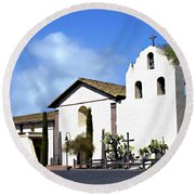 Santa Ynez Mission Solvang California Round Beach Towel