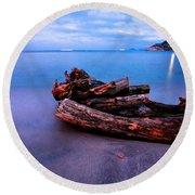 Sant'andrea At Night - Elba Island. Round Beach Towel