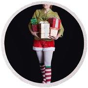 Santa's Helper Merry Christmas Elf Card Round Beach Towel