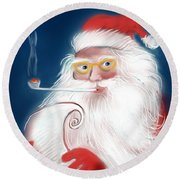 Santa's List Round Beach Towel