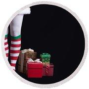 Santas Little Helper Round Beach Towel by Edward Fielding