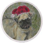 Santa's Little Pugster Round Beach Towel