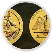 Santee Sioux Tribe Code Talkers Bronze Medal Art Round Beach Towel